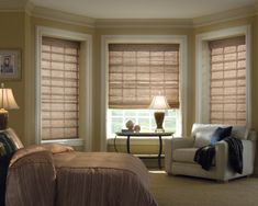 dark pine wooden blinds | Interior, Endearing Shades And Blinds For Bay Window Decoration And ...