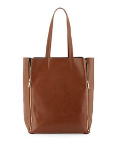 Four Zip North-South Tote, Cognac/Black by Neiman Marcus at Neiman Marcus Last Call..GREAT PRICE