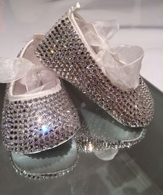 Swarovski baby shoes diamanté ballets di SparklesPearlsAndYou, $160.00