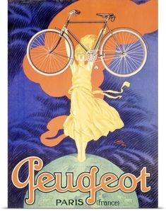 Poster Print Wall Art Print entitled Peugeot Bicycle, Paris, Vintage Poster, by Jean Carlu, None