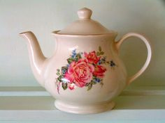 Sadler Teapot Pink Roses Made In England - English Country Cottage Style