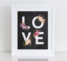 Love Floral Art Print Love Heart Instant by DecorartDesign on Etsy
