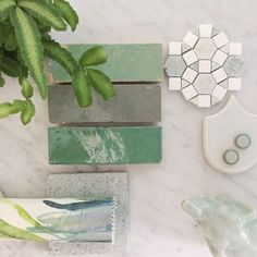 Some cheeky green inspiration to kick off your Friyay! Very cool indeed Styled by @petrinaturnerdesign #256highstprahran #tiles #flatlay #green #minggreenmarble #subwaytile #byzantinedesigngallery #256highstprahran #tiles #flatlay #green #interiordesign #interiordesignmelbourne #melbournearchitecture #yeahwerealittleobsessedwithtiles