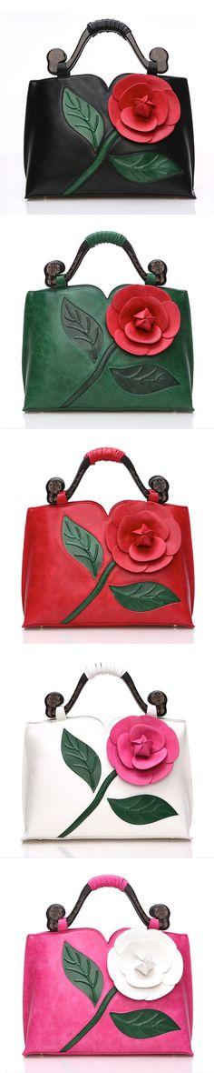 US$46.54  Women National Style Flower Decoration PU Leather Handbag Crossbody Bag #Floralbags #Womenhandbags #VintageLeatherBags