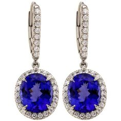 Tanzanite Diamond Platinum Drop Earrings ($13,200) ❤ liked on Polyvore featuring jewelry, earrings, multiple, oval diamond earrings, diamond earrings, tanzanite jewellery, tanzanite jewelry and platinum jewelry