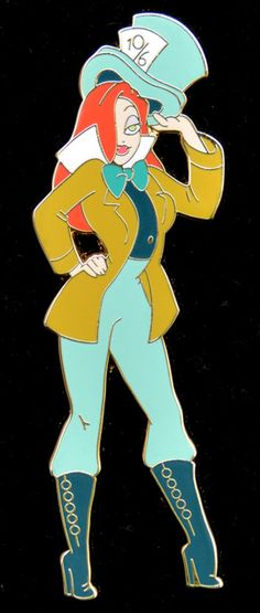 Pin 80551: DisneyShopping.com - Jumbo Pin Jessica Rabbit as The Mad Hatter Halloween Series