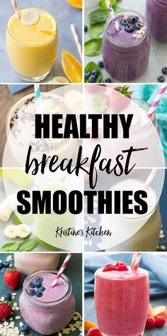Make breakfast easy with these healthy breakfast smoothies! These healthy smoothies provide filling fiber and protein to give you energy all morning! These healthy smoothie recipes include smoothies for kids, oatmeal smoothies, fruit smoothies such a Fruit Smoothie Recipes, Healthy Breakfast Smoothies, Yummy Smoothies, Smoothie Drinks, Strawberry Smoothies, Blueberry Breakfast, Strawberry Blueberry, Diet Drinks, Energy Smoothies