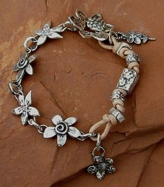 Handcrafted Artisan Sterling Silver Flower Link by ljmoreau, $170.00