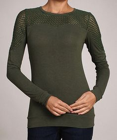 Take a look at this Olive Mesh Top by AudreyAnn on #zulily today! $24 !!