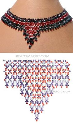 Created with BeFunky Photo Editor Diy Necklace Patterns, Seed Bead Patterns, Beaded Jewelry Patterns, Necklace Designs, Beading Patterns, Bead Jewellery, Seed Bead Jewelry, Bead Loom Bracelets, Necklace Tutorial