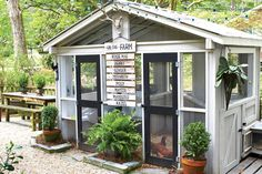 Personalized Post - Backyard Chicken Coops - Southernliving. The Scott family from Atlanta, Georgia loves their chickens so much that they even made a sign to introduce each of them on the front of their stylish backyard coop.