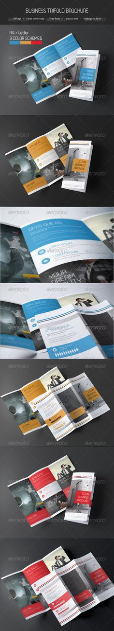 Business Trifold Brochure  #GraphicRiver          Professional, clean, trifold brochure   Just drop in your own photos and texts.