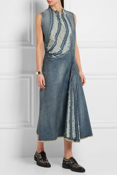 Junya Watanabe | Distressed denim midi dress | NET-A-PORTER.COM