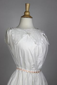 Antique Chamise in White Cotton with Insertion Lace | www.SarahElizabethGallery.com