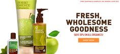 Save 30% on all organic hair, skin, and baby products!