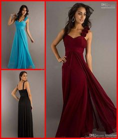 Discount Custom Fashion Hand Flowers Empire Blue Dark Red Black Chiffon Long Ruch Bridesmaid Dresses Party Cocktail Prom Evening Gown Dress ...