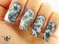 Monochrome Flower Stamping with YouTube Tutorial! #nails #nailart #nailstamping #pueen