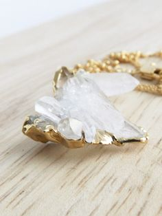 Glowing Crystal Point Necklace  Magical Crystal Quartz by LovGeo, kr392.00