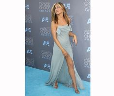 Jen was chanelling Rachel with her strappy silk maxi dress at the Critics' Choice Awards