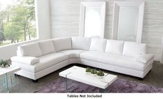 Diamond Sofa Vanity Sectional with Overstuffed Arm, Attached Seats, Hardwood Frame,Dark Espresso Wood Feet and Blended Leather in White Sectional Sofa Sale, White Sectional, Leather Sectional Sofas, Modern Sectional, Couches, Fabric Sectional, Modern Sofa, Bedroom Reading Chair, Corner Sofa Design
