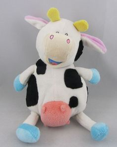 Nuby 2008 Plush Singing Cow White and Black Spots Stuffed Animal EUC #Nuby