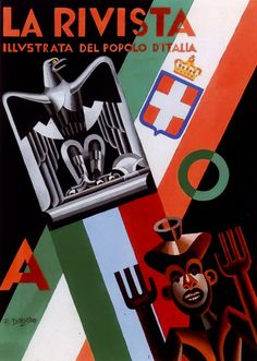 "La Rivista illustrata del Popolo d'Italia (the illustrated magazine for the Italian people), Italian Fascist magazine. 1936. Artist: Fortunato Depero (1892-1960). A periodical supplement to the daily newspaper ""Il Popolo d'Italia"", founded by Benito Mussolini in 1914 (and shut down on July 26, 1943, the day after the end of the Fascist regime)."