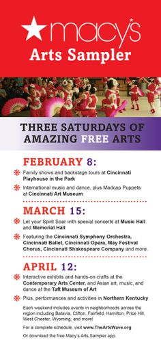Macy's Arts Sampler 2014 Flyer with Details