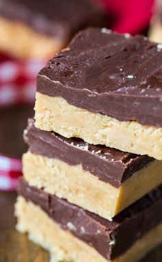 Buckeye Fudge with a layer of peanut butter topped with chocolate.