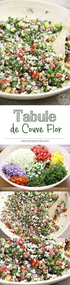 TABULE DE COUVE FLOR - Receita de Tabule de Couve Flor. Uma salada sem glúten, low carb, paleo e deliciosa. Super rápida de fazer e muito saudávelL | temperando.com #lowcarb #paleo #tabule #receitalowcarb