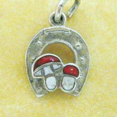 Vintage German Silver Enamel Lucky Horseshoe Mushroom Charm for Charm Bracelet | 68 usd