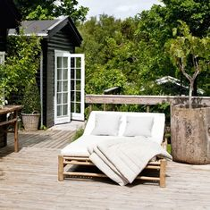 Our Double Bamboo Sunbed is a beautiful Scandi design by Tine K Home perfect for indoors or out complete with cotton/canvas cushion. Bamboo Furniture, Garden Furniture, Outdoor Furniture Sets, Furniture Nyc, Outdoor Sofa, Outdoor Spaces, Outdoor Living, Outdoor Decor, Double Sun Lounger
