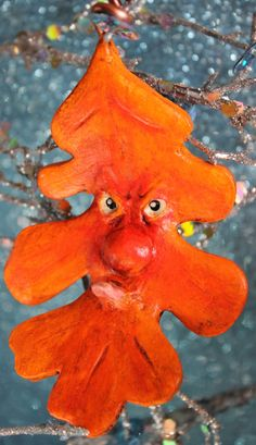 OOAK Grumpy Red Orange Paper Clay Oak Leaf by bzlittlechristmaself