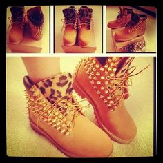 shoes timberlands leopard boots with spikes and cheetah print bag Cute Shoes, Me Too Shoes, Pretty Shoes, Beautiful Shoes, Swagg Girl, Girl Swag, Boots Leopard, Cheetah Shoes, Pink Boots