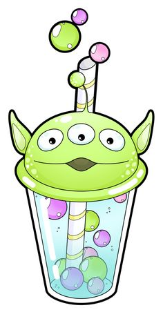 Alien bubble tea [Commissions open] by Meloxi.deviantart.com on @DeviantArt