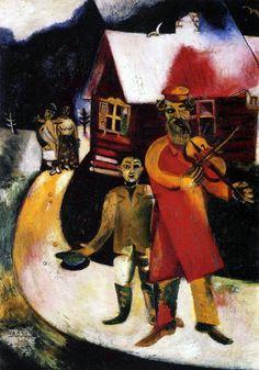 1913  Marc Chagall. Le violonniste huile sur toile 94.5 X.69.5 cm Düsseldorf, Kunstsammlung. #Art #Francia @deFharo