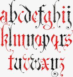 Alfabeto gótico, Carta, WordArt, Números Arábigos PNG y Vector