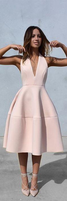 #spring #fashion | Blush Pink Neoprene Dress