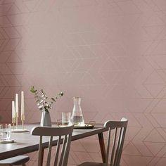 A delicate blush backdrop highlighted with clean angular rose gold lines. Rose Gold Wallpaper, Brown Wallpaper, Home Wallpaper, Graham Brown, Brown Paint, Blush Roses, Burke Decor, Slow Living, Design Moderne