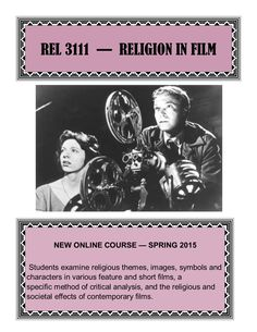 New Online Course! Spring 2015  Religion in Film
