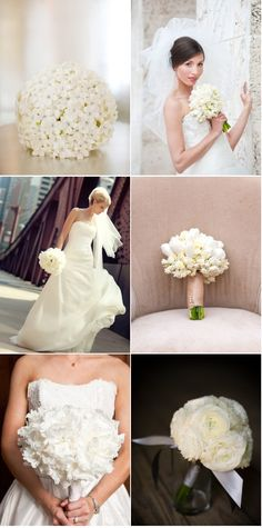 Pure ~ unadulterated ~ white! Wedding Bouquets from Style Me Pretty.
