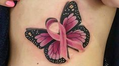40 Awesome Tattoos for Breast Cancer Awareness Butterfly Tattoo Cover Up, Butterfly Tattoo On Shoulder, Butterfly Tattoos For Women, Butterfly Tattoo Designs, Cancer Survivor Tattoo, Breast Cancer Tattoos, Cancer Ribbon Tattoos, Breast Cancer Art, Cancer Awareness Tattoo
