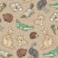 Outback Australian Animal green fabric platypus by fabricfrantic Australian Nursery, Australian Animals, Baby Fabric, Easy Quilt Patterns, Animal Quilts, Platypus, Jungle Animals, Easy Quilts, Wombat