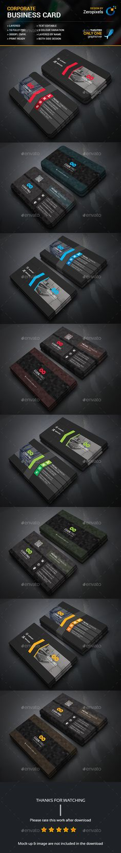 Corporate Business Card Bundle — Photoshop PSD #black #green • Available here → https://graphicriver.net/item/corporate-business-card-bundle/17969201?ref=pxcr