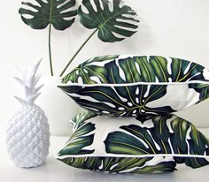 we've got this white pineapple and monstera leaves, and now we have tropical pillows Design Tropical, Tropical Home Decor, Tropical Pattern, Tropical Houses, Tropical Interior, Modern Tropical, Tropical Prints, Tropical Colors, Palm Print