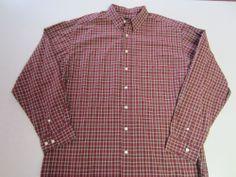 Mens Shirt Tall XL Eddie Bauer LS Long Sleeve Button Down Plaid Red Tan