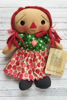 Thank You Teacher Pink Apple Annie Primitive Raggedy Ann
