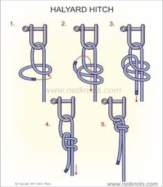 How to tie a Halyard Hitch animated and illustrated by NetKnots, - Everything About Camping Tools Survival Life Hacks, Survival Prepping, Survival Skills, Camping Survival, Rope Knots, Macrame Knots, Sailing Knots, Survival Knots, Knots Guide