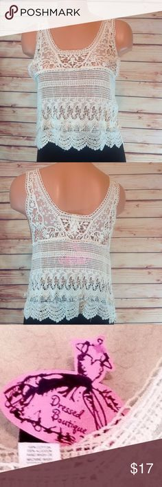 """Crochet & Lace Crop Top Tank Cover Up Large NWT Brand new with tags! NWT. Crochet and lace crop top tank cover up. Beautiful details! Size Large. Bust 17"""" across.  Length 20"""". 100% cotton.  🔹Please ask all your questions before you purchase! I am happy to help! 🔹Sorry, no trades or holds. 🔹Bundle for best prices! Carolina USA Tops Crop Tops"""