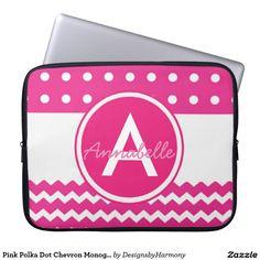 Pink Polka Dot Chevron Monogram Personalized Computer Sleeves