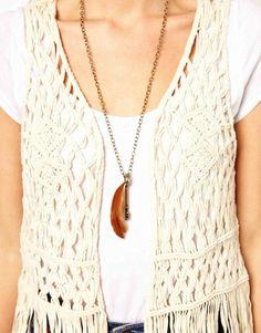 Mango Crochet Tassel Vest